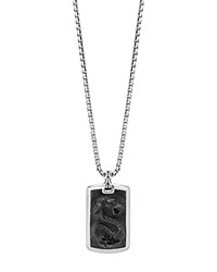 John Hardy Sterling Silver Legends Naga Large Dog Tag Necklace With Black Onyx 26 Black Silver