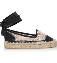 Kg By Kurt Geiger Matilda Leather And Lace Espadrilles Nude