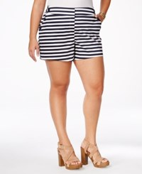 Stoosh Plus Size Striped Sailor Shorts White Navy