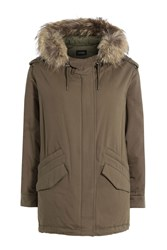 The Kooples Cotton Parka With Fur Trimmed Hood Green