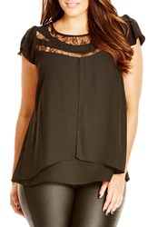 City Chic Plus Size Women's Lace Inset Cap Sleeve Top Black
