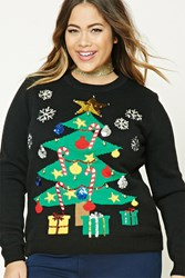 Forever 21 Plus Size Holiday Tree Sweater Black Multi