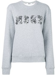 Msgm Logo Applique Sweatshirt Grey