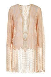 Not Looking Back Blush Lace Kimono With Fringing By Wyldr