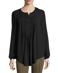 Max Studio Pintucked Georgette Blouse Black