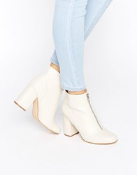 New Look Zip Front Leather Ankle Boot Cream