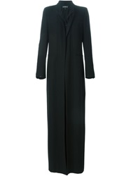 Ann Demeulemeester Embroidered Shawl Lapel Coat Black