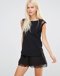 See U Soon Top With Lace Detail Black