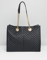 Asos Quilted Chevron Tote Bag With Chain Handle Black