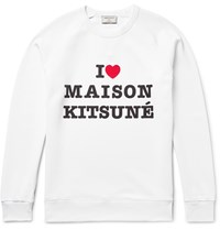 Maison Kitsune Printed Loopback Cotton Jersey Sweatshirt White