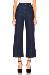 Stella Mccartney High Waisted Crop Trousers In Blue
