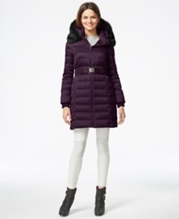 Dkny Quilted Puffer Parka Jacket Cabernet