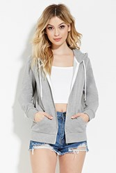 Forever 21 Classic Zip Up Hoodie Heather Grey