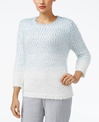 Alfred Dunner Petite Northern Lights Ombre Textured Sweater Dove Blue