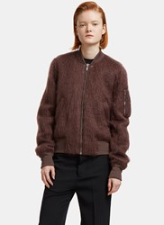 Rick Owens Mohair Knit Bomber Jacket Brown
