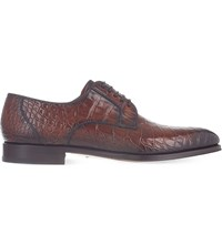 Magnanni Alligator Leather Derby Shoes Brown