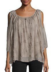 Saks Fifth Avenue Embroidered Floral Cold Sholder Top Taupe