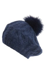 Eugenia Kim Women's 'Genevieve' Genuine Arctic Fox Fur Trim Alpaca Beret Blue Navy