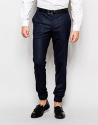Jack And Jones Jack And Jones Premium Trousers With Stretch And Cuffed Hem In Slim Fit Blue