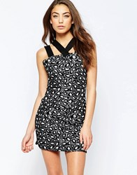 Hedonia Roxy Animal Print Bodycon Dress With Thick Straps Leopard