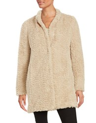 Kenneth Cole Faux Fur Button Front Coat Ivory