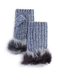 Ugg Australia Lurex Crochet Gloves With Shearling Sheepskin Cuff Steel Heather
