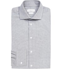 Richard James Contemporary Fit Brushed Cotton Oxford Shirt Blue