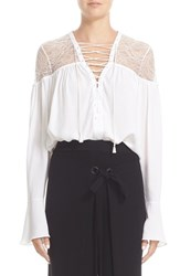 Yigal Azrouel Women's Lace Up Ruched Crepe Georgette Blouse