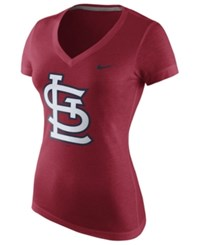Nike Women's St. Louis Cardinals V Neck Logo T Shirt Red