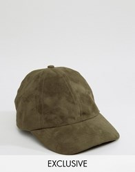 Reclaimed Vintage Baseball Cap In Faux Suede Green