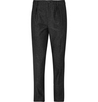 Wooyoungmi Slim Fit Checked Wool Blend Trousers Black