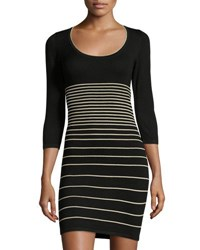Max Studio Striped 3 4 Sleeve Sweaterdress Black White