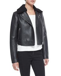 Alexander Wang Leather Moto Jacket With Shearling Fur Collar Black And Bone