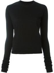 Rick Owens Drkshdw Longsleeved Short Knitted Blouse Black