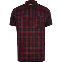 River Island Mens Red Checked Flannel Short Sleeve Shirt