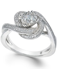 Macy's Diamond Swirl Engagement Ring 1 2 Ct. T.W. In 14K White Gold