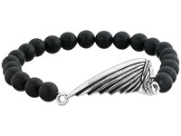 King Baby Studio 8Mm Black Onyx Bead Bracelet With Indian Motorcycle Logo Headdress