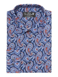 New And Lingwood Deal Paisley Print Cotton Shirt Navy