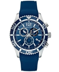 Nautica Men's Chronograph Navy Silicone Strap Watch 43Mm N15103g
