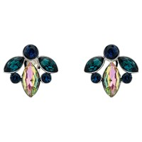 Monet Rhodium Plated Glass Crystal Navette Clip On Earrings Silver