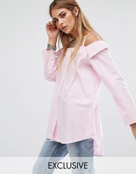 Reclaimed Vintage Reclamed Off Shoulder Boyfriend Shirt Pink