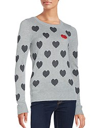 Saks Fifth Avenue Red Heart Intarsia Sweater Heather Grey