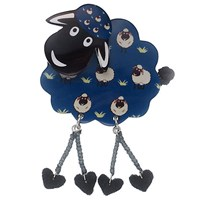 One Button Resin Sheep Brooch Blue