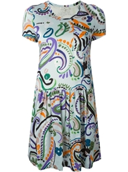 Etro Floral Paisley Print Textured Dress Green