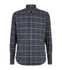 Tom Ford Flannel Checked Shirt Male Navy