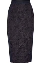 Sea Guipure Lace And Stretch Crepe Skirt Blue