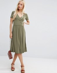 Asos Midi Wrap Skater Dress With Short Sleeves Khaki Green