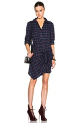 Thakoon Flannel Side Tie Dress In Blue Checkered And Plaid