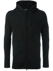 Stone Island Shadow Project Textured Zipped Hoodie Black