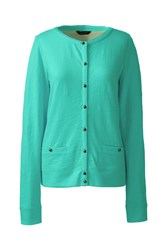 Lands' End Lightweight Slub Cardigan Green